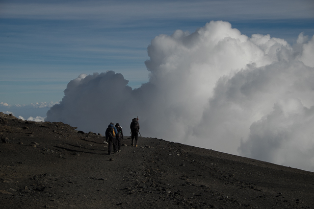 Descent along the crater rim