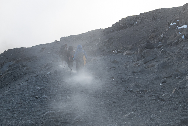 The descent down the scree