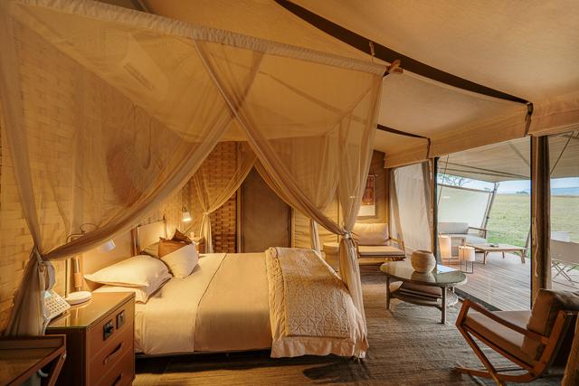 Tent interior at Sabora