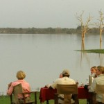 Watching the spectacle of the hippos in the morning