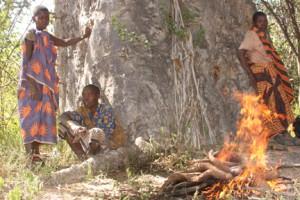 Hadzabe Women Roasting Tubers