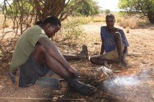Hadzabe hunters cooking lunch
