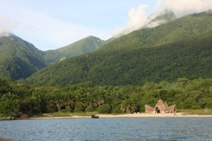 Greystoke camp nestled at the foot of Mahale Mountains National Park