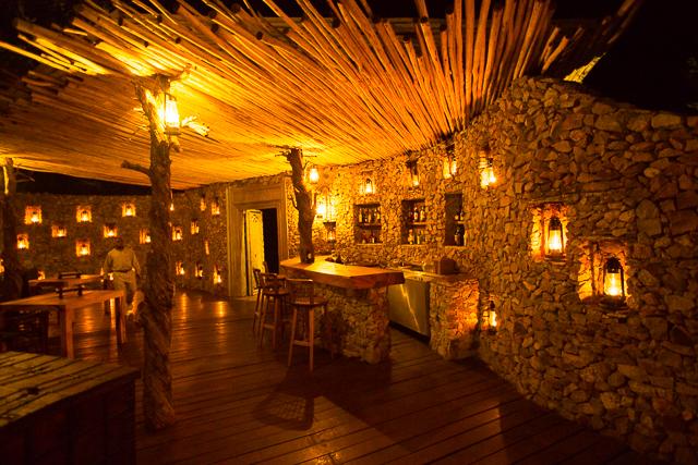 Mwiba Lodge dining area at night