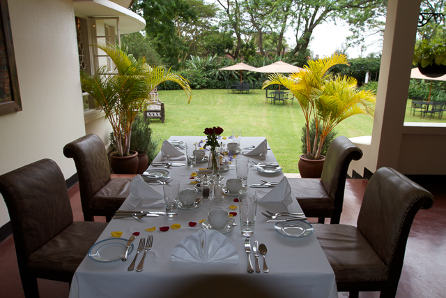 breakfast table overlooking the gardens