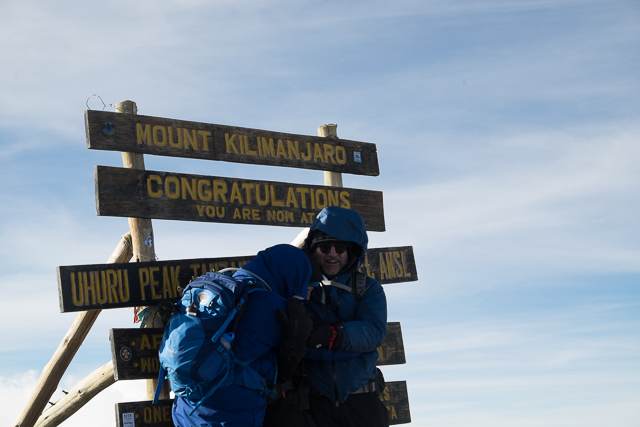 The climbers arrive at the summit