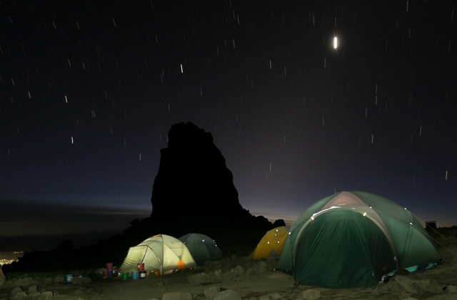 Lava Tower camp at night