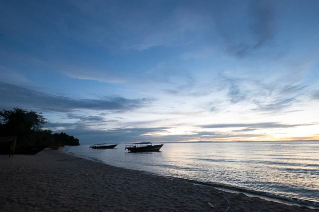 The shoreline at dusk