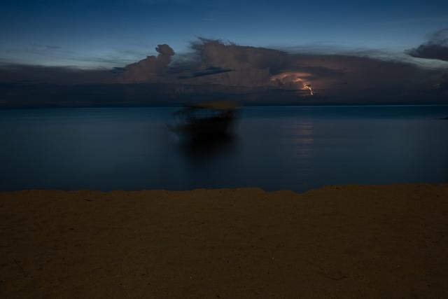 Lightning flashes across Lake Tanganyika