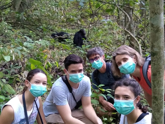 Our masks are on to protect the chimpanzees from disease